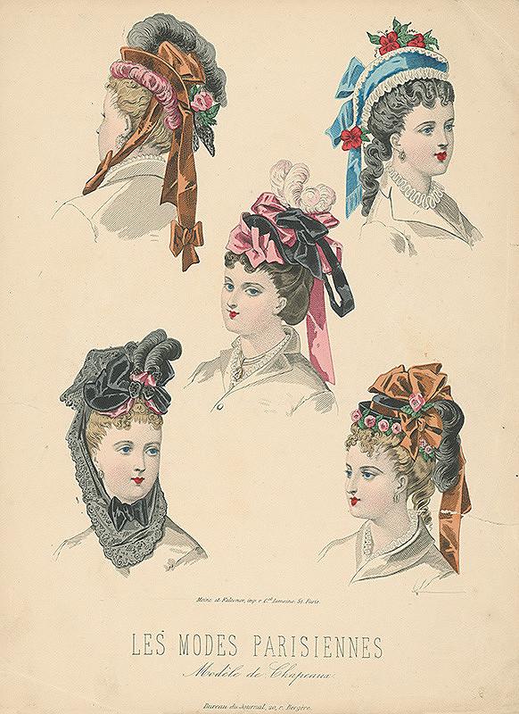 Francúzsky karikaturista z 19. storočia, Francúzsky grafik – List z módneho časopisu Les Modes Parisiennes. Modely klobúkov