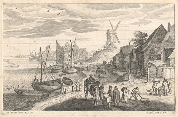 Aegidius Sadeler II., Jan Brueghel II. – Pobrežná scéna s veterným mlynom