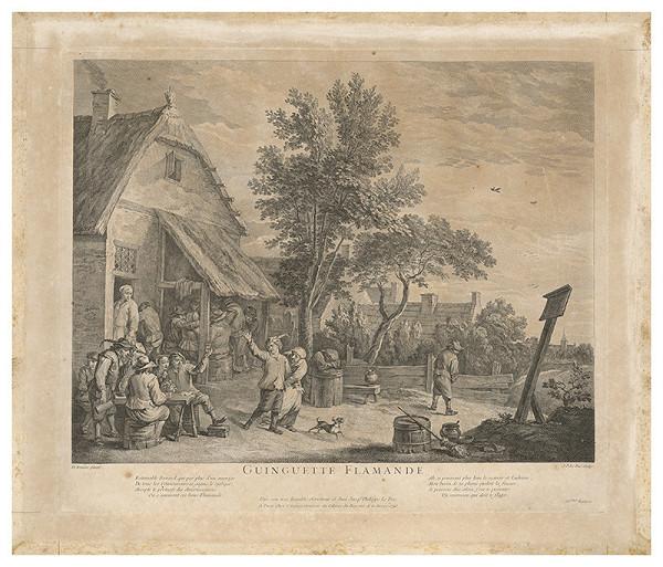 Jacques Philippe Le Bas, David Teniers - Pred flámskou krčmou