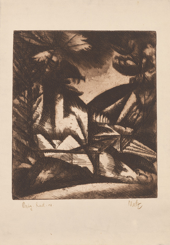 Béla Uitz – Krajina so stromami