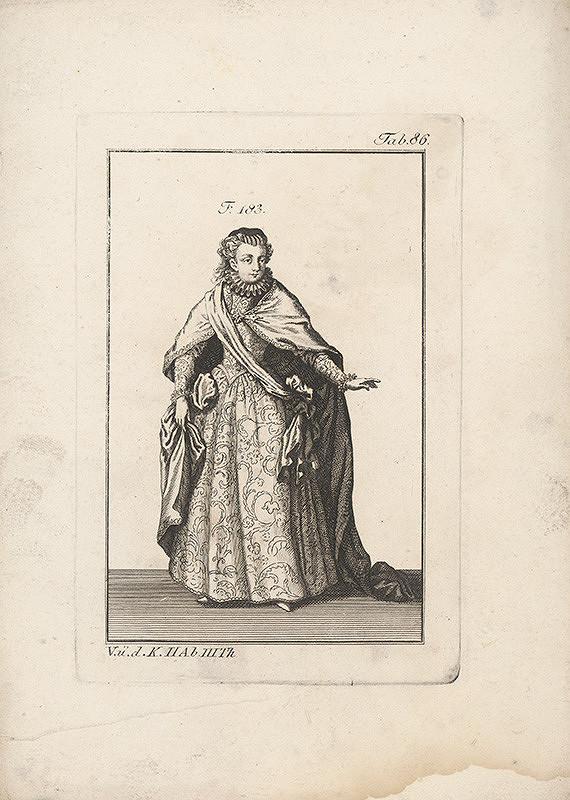 Západoeurópsky autor z 18. storočia – Dáma v šatách s malým okružím a v plášti