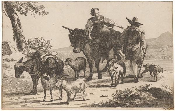 Nicolaes Claes Berchem st. – Sedliacky pár so zvieratami na ceste