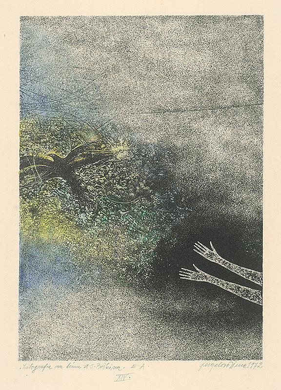 Viera Gergeľová - Litografia na tému A.S.Puškina 14.