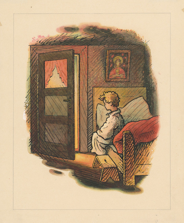 Ľudovít Fulla - Chlapec na posteli