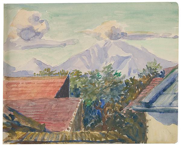 Margita Czóbelová – Náčrt výhľadu na vrch so strechami domov