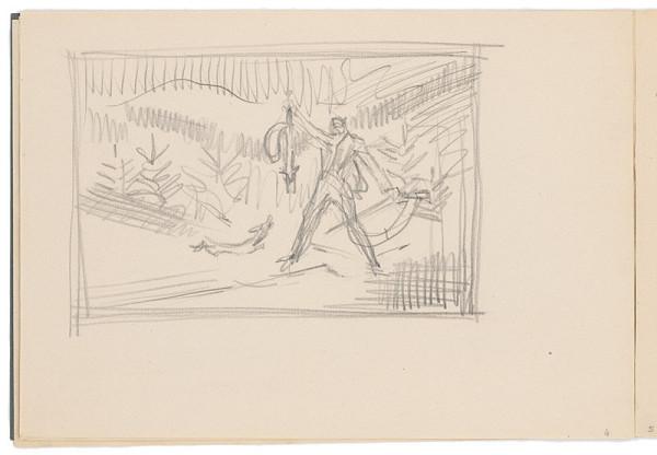 Arnold Peter Weisz-Kubínčan – Skicár 17 Skica lovca s líškou