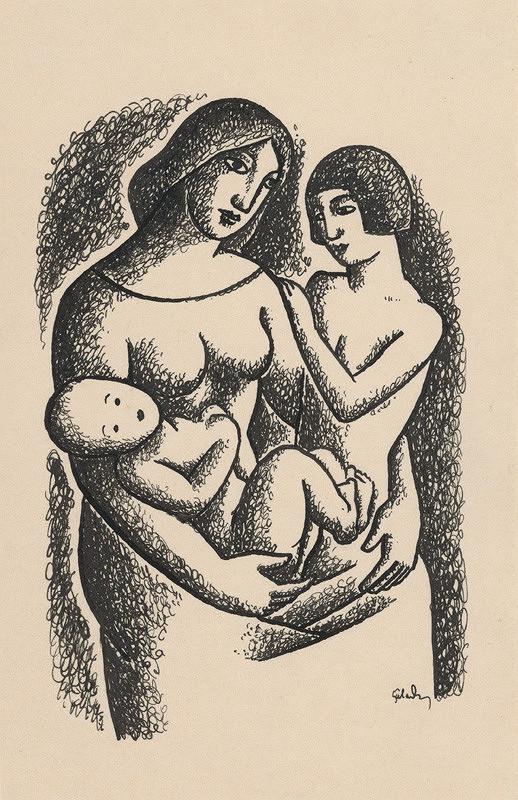 Mikuláš Galanda – Matka s dvomi deťmi na lone