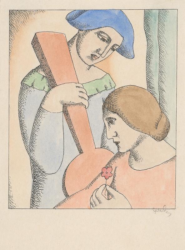 Mikuláš Galanda - Milenci Harlekýn a Kolombína
