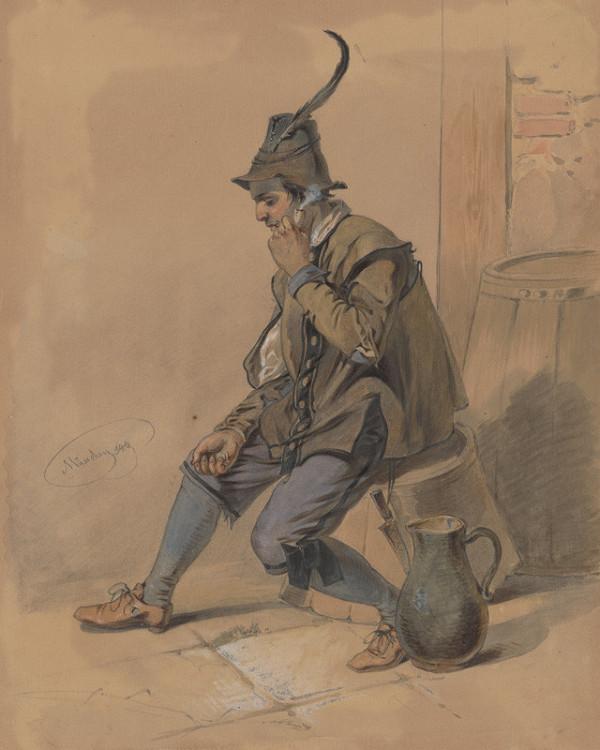 Friedrich Carl von Scheidlin – Štúdia fajčiaceho muža