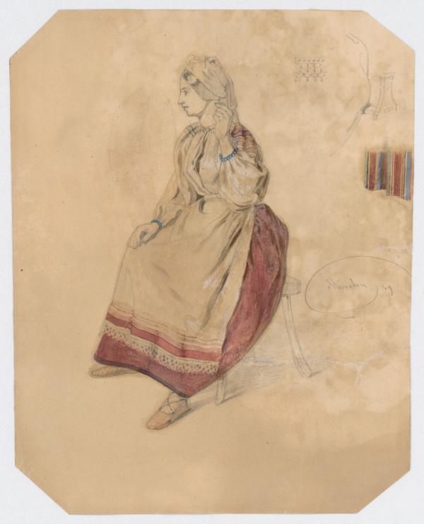 Friedrich Carl von Scheidlin - Sediaca mladá žena v kroji