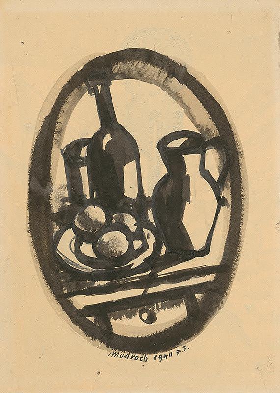 Ján Mudroch – Zátišie s fľašou, krčahom a ovocím