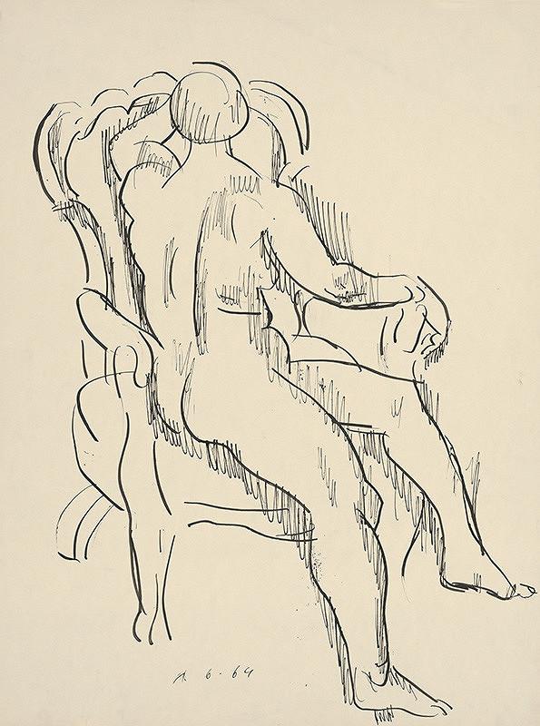 Ernest Zmeták - Sediaci ženský akt v kresle