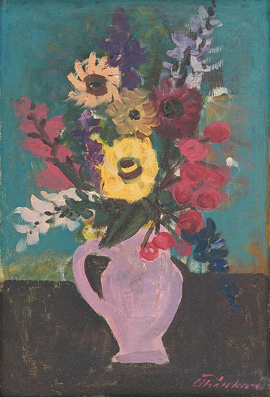 Jarmila Čihánková – Kvety vo fialovom džbáne
