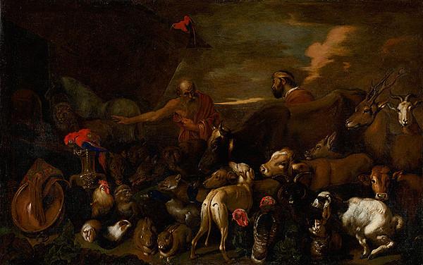 Nemecký maliar z 18. storočia – Noe vypúšťa zvieratá z korábu