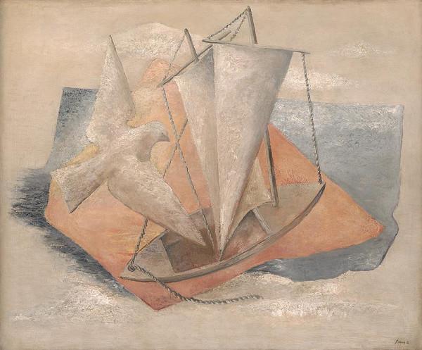 František Malý - Krajina s loďou