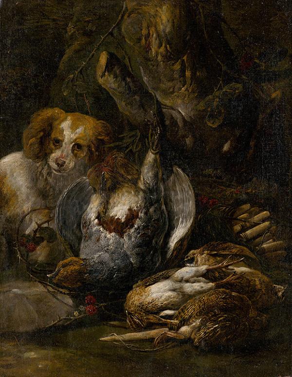 Jan Fyt - Poľovnícke zátišie s hlavou poľovníckeho psa