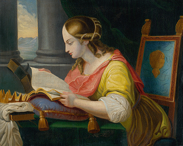 Slovenský maliar z konca 18. storočia, Neznámy maliar – Sediaca svätá Katarína pri štúdiu