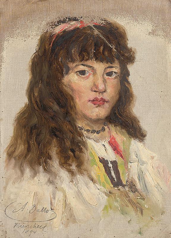 Aurel Ballo - Štúdia ženskej hlavy s dlhými vlasmi