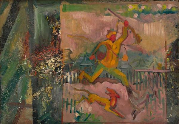 Arnold Peter Weisz-Kubínčan – Utekajúci poľovník s puškou