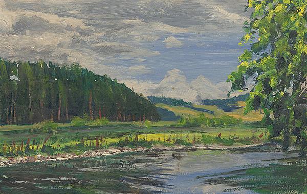 Margita Czóbelová - Krajina s riekou Poprad okolo Strážok