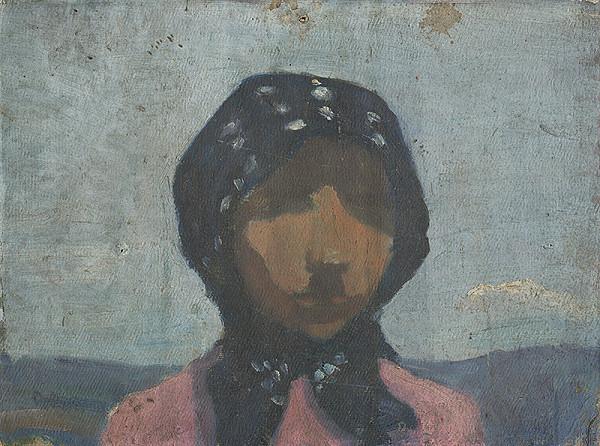 Frida Konstantin – Štúdia sedliačky v čiernej bodkovanej šatke