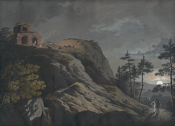 Ján Jakub Müller - Romantická krajina s ruinami a pastiermi pri mesačnom svite