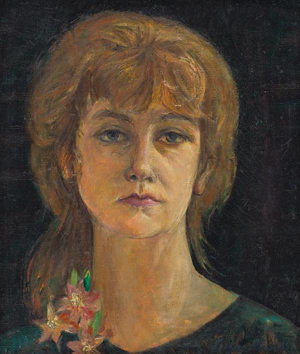 Kvetoslava Gandlová – Autoportrét s kvetom granátového jablka