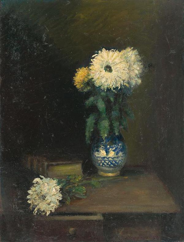 Ján Mudroch – Zátišie s chryzantémami