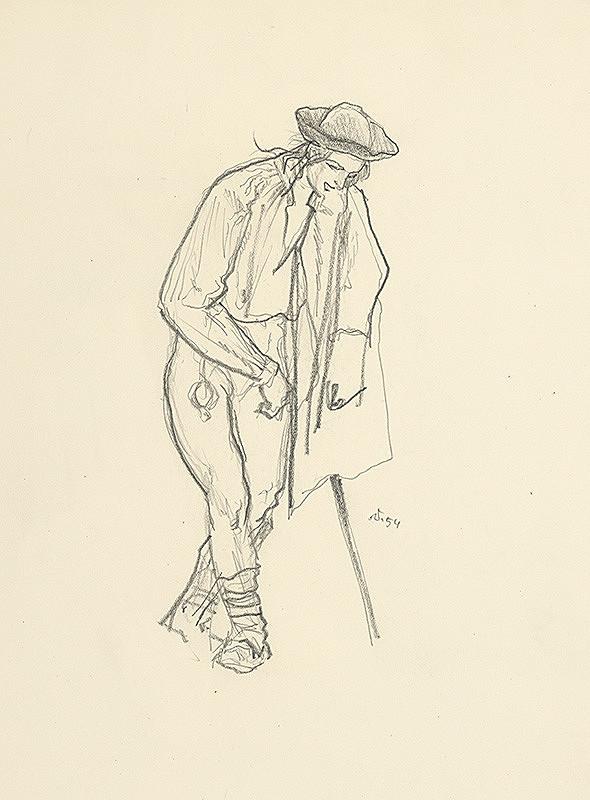 Jaroslav Vodrážka – Podopierajúci sa muž s halenou na pleci
