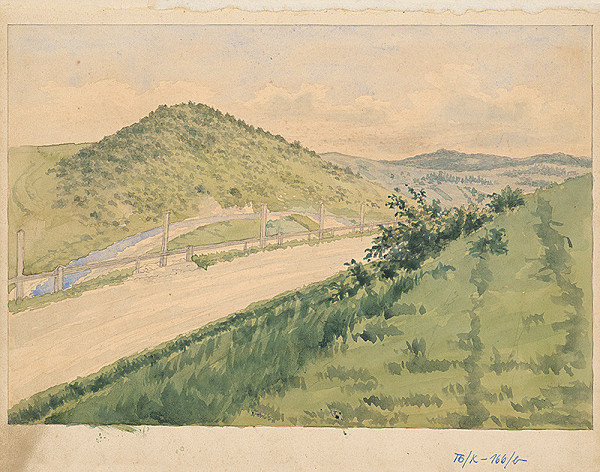 Slovenský kresliar z 3. štvrtiny 19. storočia - Krajina s cestou
