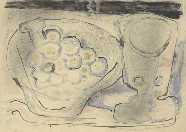 Jan Benda - Zátiší s mísou hroznového vína