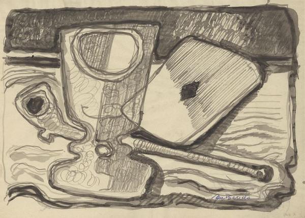 Jan Benda – Zátiší se sklenicí a kytarou