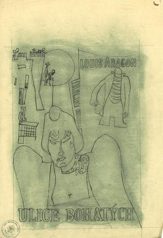 František Tichý – Návrh na obálku knihy - Ulice bohatých, L. Aragon