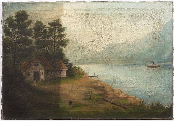 Neznámý malíř 19.století – Krajina s horským jezerem