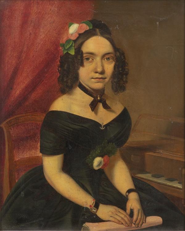 Neznámý český autor - Portrét dámy u klavíru