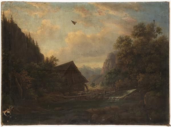 Neznámý malíř – Krajina s vodním mlýnem
