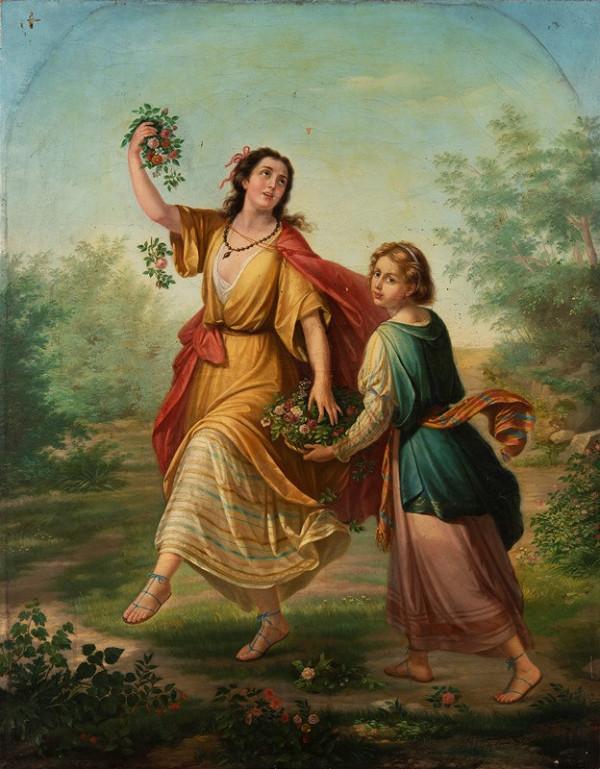 Giuseppe Fattori – Flora se svou družkou rozhazuje květiny