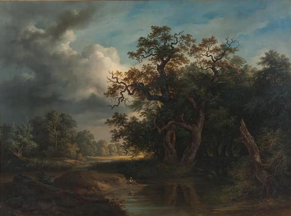 Josef Kriehuber - Krajina s tůní a rybářem