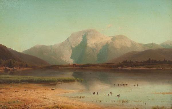 Eduard Peithner von Lichtenfels – Alpská krajina s jezerem