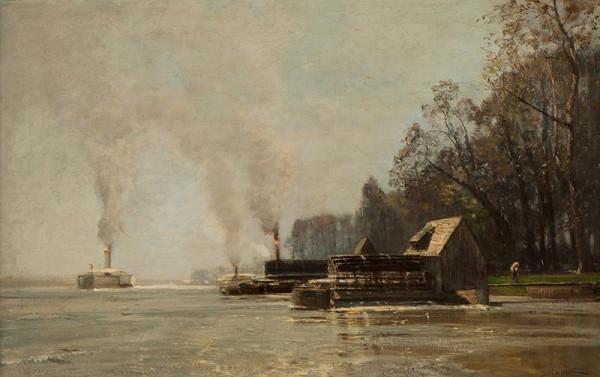 Emil Jakob Schindler – Císařské mlýny - přístav na Dunaji (Mlýny v Prátru)