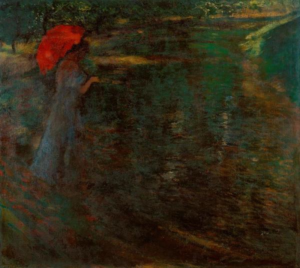 Antonín Slavíček - Dáma se slunečníkem (Červený slunečník)