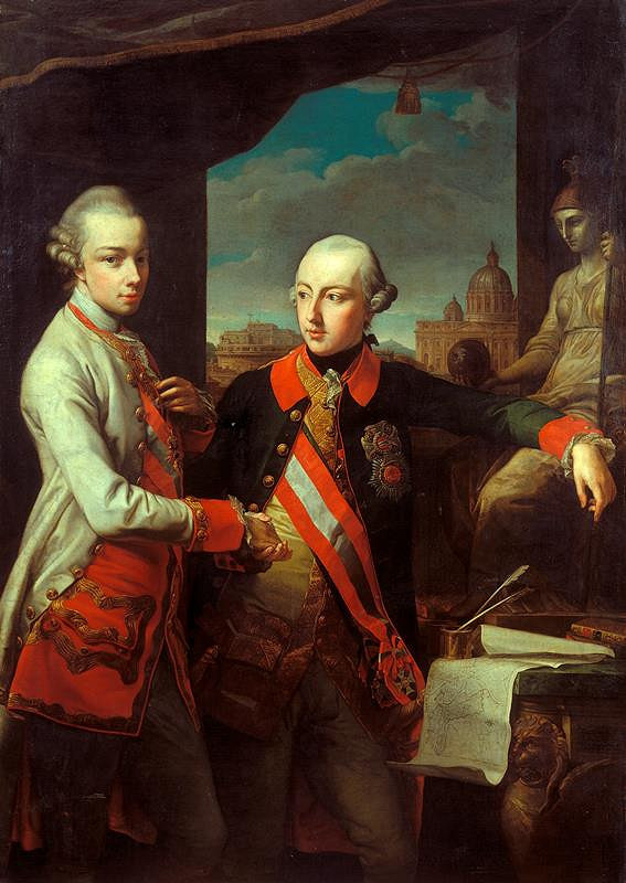 Pompeo Girolamo Batoni - dílna - Dvojportrét s prospektem Říma (Josef II.a Leopold II.)