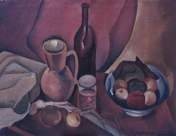 František Foltýn - Zátiší se džbánem, lahví a ovocem