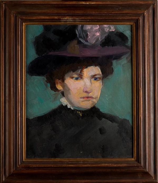 Václav Špála - Portrét s fialovým kloboukem