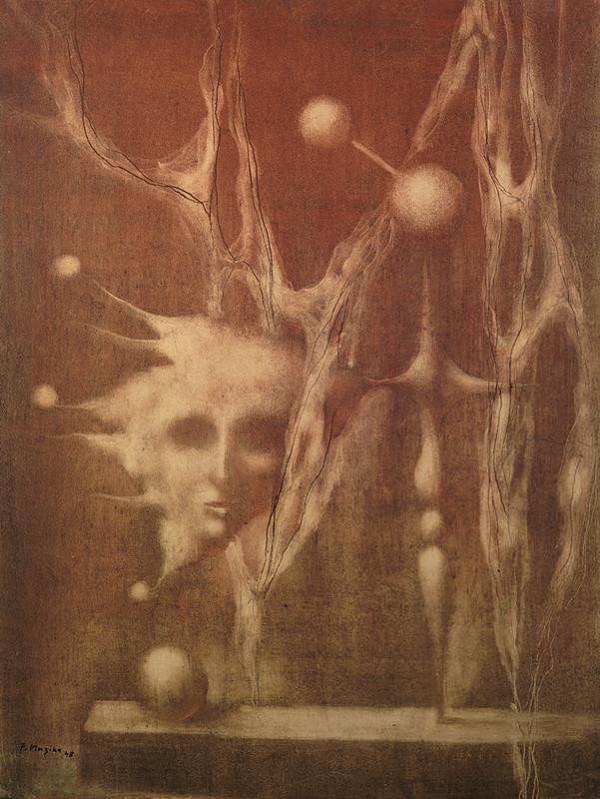 František Muzika – Zátiší s hlavou v červené (Edison)