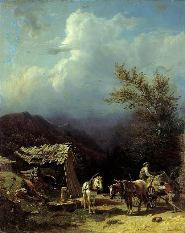 Franz Reinhold – Nakládání sudu na selský povoz