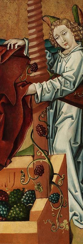 neznámý malíř český – Anděl - fragment  výjevu Kristus vinařem, revers skupina 5 apoštolů z výjevu Smrt P. Marie(?)