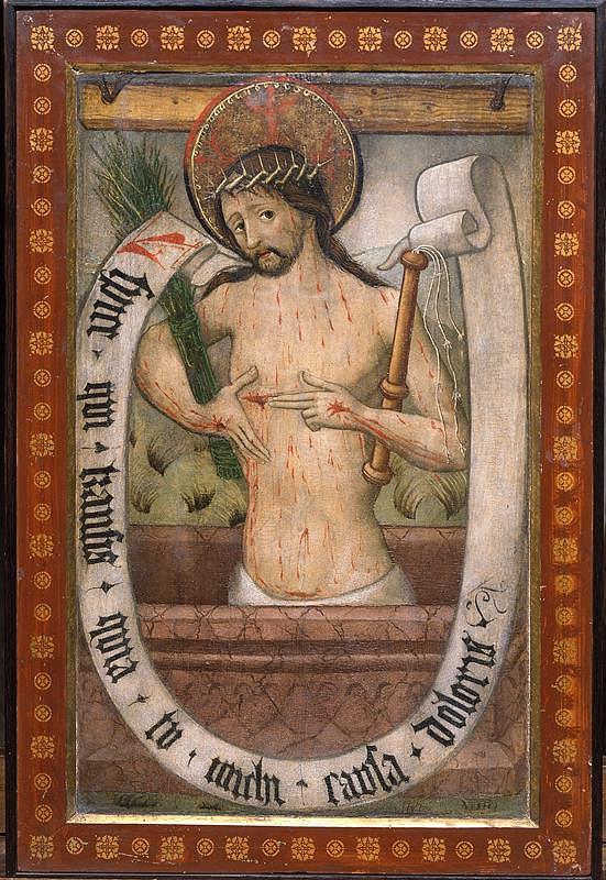 neznámý malíř moravský (brněnský?) - Anděl ze Zvěstování, revers Kristus Trpitel v tumbě