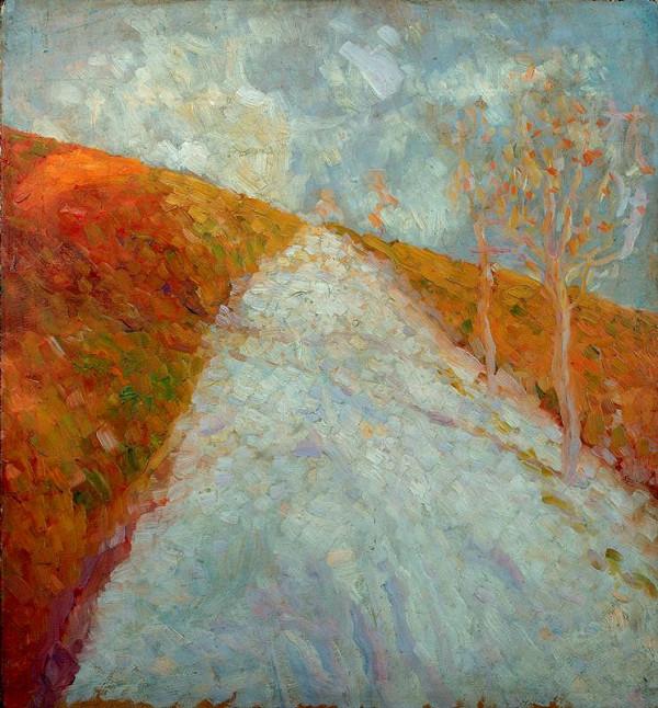 Jindřich Prucha - Podzimní krajina se stromy a silnicí