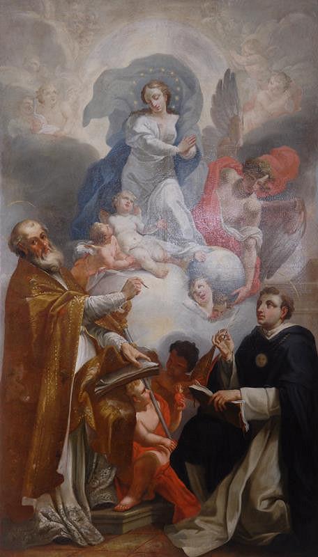 neznámý malíř rakouský – Immaculata adorovaná sv. Augustinem a Tomášem Akvinským